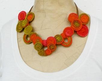 Swirl necklace, Art Nouveau choker, Orange short necklace, Abstract colorful bib, Bright accessory, Wire wrapped Fuchsia necklace Unique bib