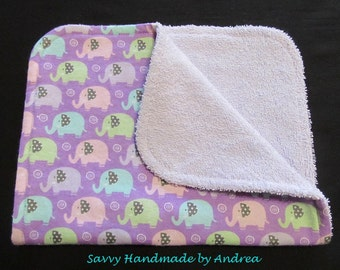 Burp Cloth with Elephants, Purple Baby Burp Cloth, Flannel and Terry Cloth Burp Cloth