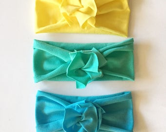Beach Bundle // Save on set of 3 // Flower Jersey Headband // Baby Girl Headband // Infant // Newborn // Adult // Floral :FLB