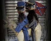 Primitive Civil War Soldiers~On~A~Horse Holding Flags~ American Folk Art Dolls