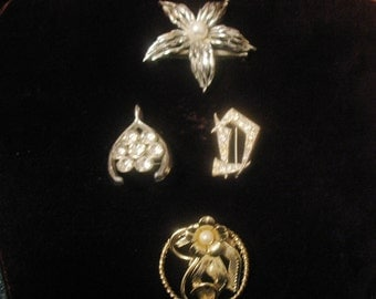 Vintage Unmarked Costume Jewelry Pins Gold and Silver Tones Rhinestones Imitation Pearls