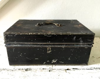 Vintage Metal Box Lock Box