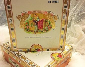 Vintage Cigar boxes, Romeo and Juliet Cigar boxes, Set of cigar boxes , kitsch storage boxes (2 Boxes)