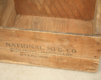 National MFC Co,  Wood Crate, Old Shipping Crate, Home Decor, Solid Primitive, Sterling IL, Storage, Home Decor, Garden, Spring, Wedding