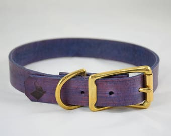 The Elessar Collar: Purple & Brass Leather Dog Collar