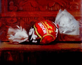 Red Lindor Truffle (no.152) Oil Painting Realism Still Life Candy Lindt Chocolate Small Fine Art