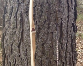 "Red Oak & Maple longbow, 30lb at 28"", traditional wood archery bow"