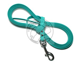 """Teal - Nose Work Light Weight Long Line - 1/2"""" (12mm) wide Beta Biothane - Tacking Line Recall Leash - Choice of hardware and length"""