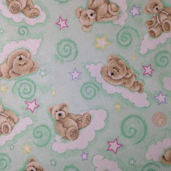Teddy bear green swirl flannel fabric flannel by the yard for Baby nursery fabric yard