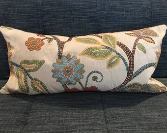 Blue, Gold, Green, Brown and Beige Floral Pillow Covers in Claridge Upholstery Fabric