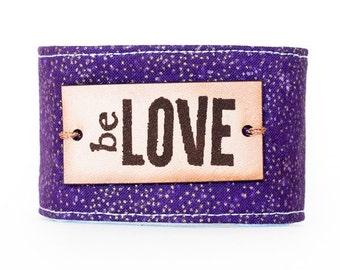 Inspirational bracelet, unique inspirational bracelet with secret interior quote, Be Love Bracelet, Metal plate bracelet