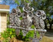 3 LITTLE OWLS Tree Jewelry Christmas Ornament Sparkling Owl Birds