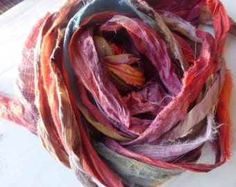 10 hand dyed silk ribbons approx 1m each mix of texture/colour - FR54