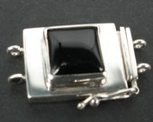 925 sterling silver tongue clasp 2 strands with square onyx 13.8x13.8x5mm