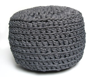 MINI POUF - crocheted, kid, yoga, ottoman, foot stool, floor pillow - custom color