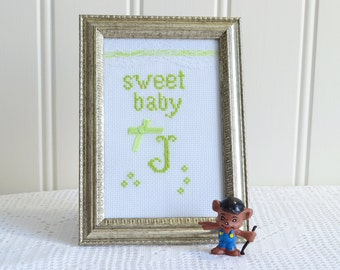 Cross stitched framed monogram J , baby nursery decor, green white embroidery, handmade in Sweden,