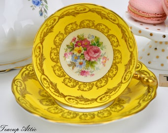 Foley Bright Yellow And Gold Teacup and Saucer Set, English Fine Bone China Tea Cup Set, ca. 1936-1948