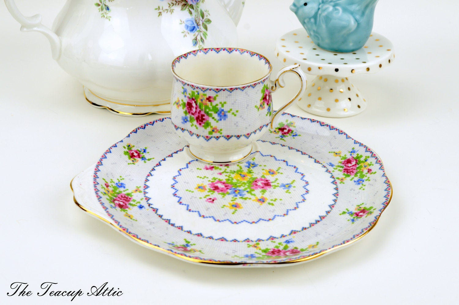 Royal Albert Petit Point Tennis Set With Teacup and Luncheon Plate, English Bone China Snack Set, Wedding Gift,  ca. 1940