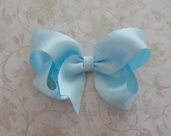 Baby Blue Satin Twisted Boutique Bow - 4 inch Light Blue Satin Hairbow  - Baby Blue  Bow - Pastel Blue  HairBow - Girls Satin HairBow
