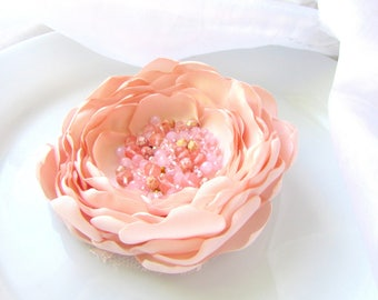 "Pale Pink BLUSH FLOWER, Large Blush hair Piece, Blush Bridal Floral Hairpiece, Beaded Silk Floral Pin Clip 4"" Big Flower Brooch for Dress"