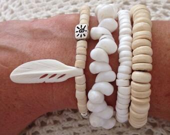 bohemian bracelet stack, bohemian jewelry, beach jewelry, beachcomber accessory, boho style