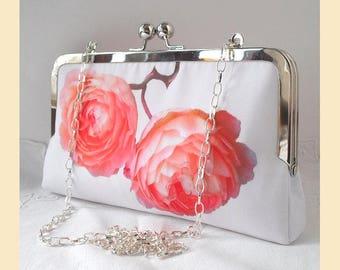 Clutch bag, shoulder bag, peach floral clutch, white, bridesmaids purse, handmade bridal purse, peach roses