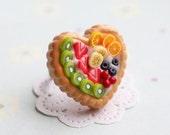ON SALE Fruit Pie Heart Ring  - sweet jewelry