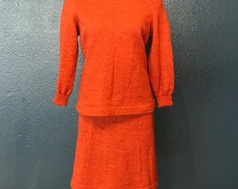 Vintage 1960s Sweater Set • Persimmon Knitwear Sweater and Skirt Set / Size M-L