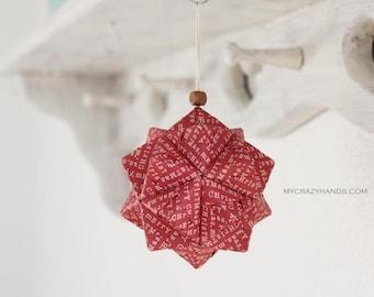 Merry Christmas tree ornament | 3.5'' origami kusudama || | origami geometric ball | holiday ornament -maroon