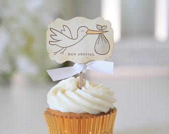 Baby Shower / Cupcake Toppers / New Arrival / Stork / Gender Neutral / 12 Toppers