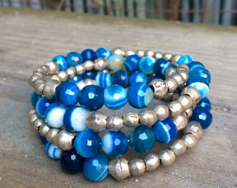 Dark Blue Agate and Chunky Silver Wrap Bracelet