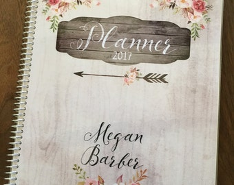 Planner - Personalized - Yearly planner - Woodgrain - Watercolor - Floral