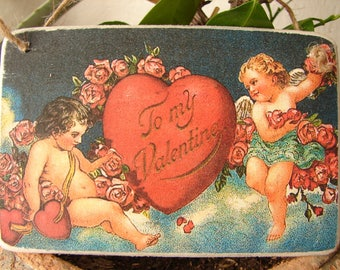 vintage 'To my Valentine' sign, small image on wood, cherubs with heart & roses decorative hanging tag