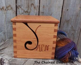 Yarn Box, wooden yarn holder, lidded yarn bowl