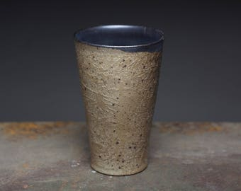 Rustic ceramic tumbler, stoneware tall tumbler,wood fired pottery