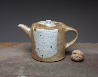 Wood fired stoneware teapot, crawl glaze, natural clay color, rustic teapot