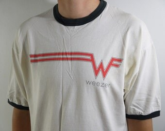 Vintage Original Weezer Flying W Tour Concert Band Ringer T Shirt If It's Too Loud Turn it Down 1995