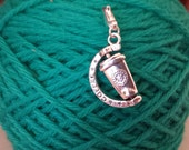 Coffee Cup Charm-To Go-Knitting/Crochet Stitch Marker- Progress Keeper--Zipper Pull Charm-Rotating Take out Coffee Cup