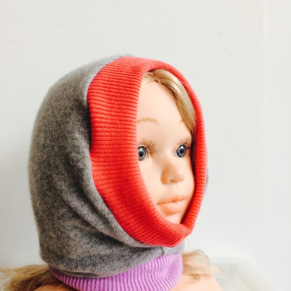 DIZZY 6-12 Months Cashmere Kids Hat Balaclava Toddler Childrens Bobble Hat Snood Hoodie Upcycled Cashmere Pom Pom Unisex