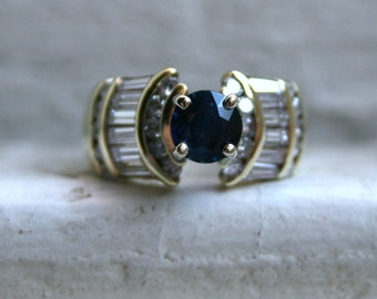 Lovely Vintage 14K Yellow Gold Diamond and Sapphire Ring Engagement Ring - 2.00ct.