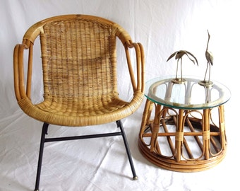 Vintage Mid Century Wicker Basket Chair, Arthur Umanoff Style, Bamboo Rattan Accent Chair Iron Legs