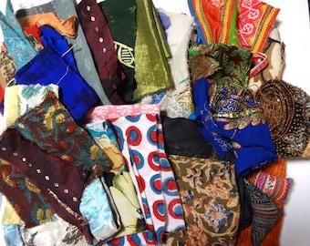 1 lb Remnants Destash Ethnic Fabric Scrap Lot for craft