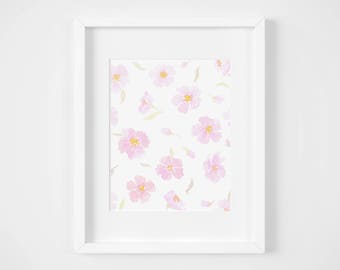 pink floral pattern watercolor illustration art print | gifts for babies, girls, decorations, flower lover