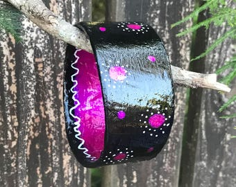 "Pink Rapsody Plus Size Bangle Bracelet handmade recycled Black hot pink 1 1/2"" wide 9"" interior"