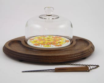 Vintage Mid Century Goodwood Teak Domed Cheese Cracker Tray With Attached Knife