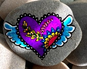 On the wingsof love / painted rocks /painted stones / rock art / heart rocks / paperweights / purple hearts / tiny art / rocks / stones