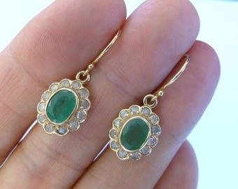 Vintage Emerald Earrings, Solid Gold 9ct 9k Antique Diamond Earrings, French Drop Wire, Womens Victorian Earrings, Custom E10