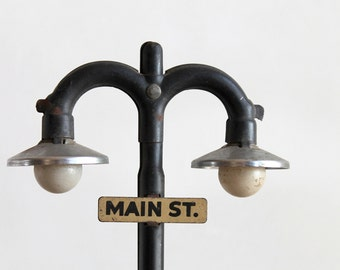 Main street industrial vintage mini lamp post / industrial style home decor / retro urban loft home decor / rustic desk decor replica lamp