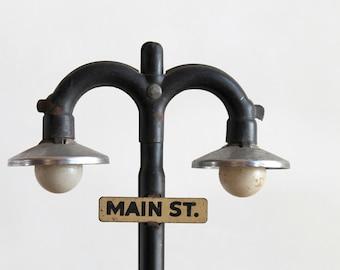 Main street industrial vintage mini lamp post / industrial style home decor / retro urban loft home decor / rustic desk decor replica lamp