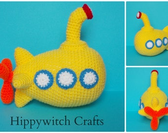 Yellow Submarine, The Beatles, Boys toy, crochet toy, stuffed toy. MADE TO ORDER